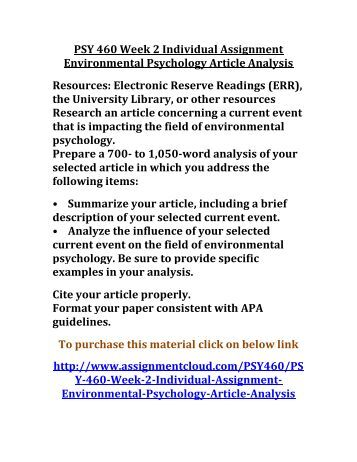 environmental psychology essay This paper explores past and present neglect of the natural environment within   focus of social work should not be on psychological forces, the environment,.