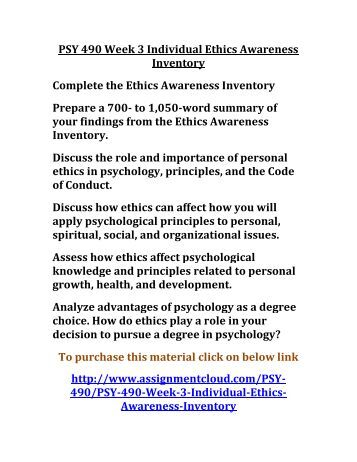"personal ethics awareness inventory Using the ""ethics awareness inventory"" link located on the week one course web page for this course, complete the ""ethics awareness inventory."