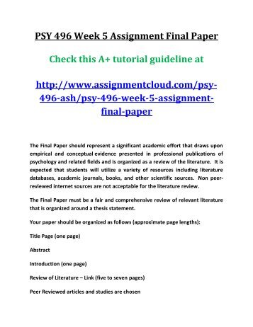 PSY 496 Week 5 Assignment Final Paper