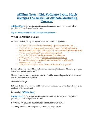 Affiliate Trax review-SECRETS of Affiliate Trax and $16800 BONUS