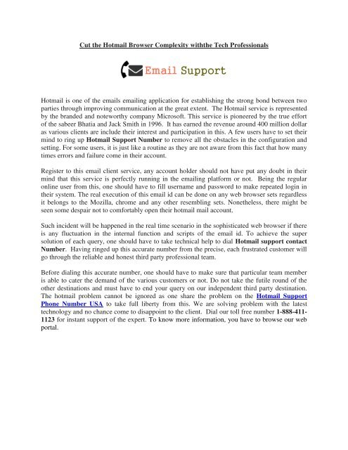 Hotmail Support Phone Number USA | +1-888-411-1123