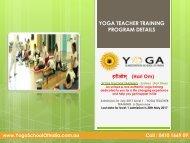 Yoga Teacher Training Program Details