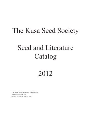 Our Seed & Literature Catalog - The Kusa Seed Society