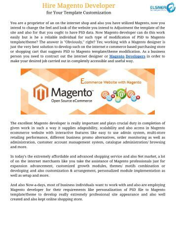 Hire Magento Developer for Your Template Customization