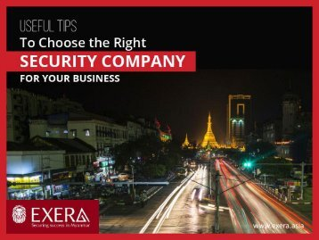 Tips to Choose the Right Security Services in Myanmar