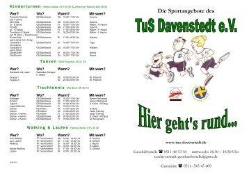 Die Sportangebote des - TuS Davenstedt