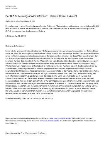 Der D.A.S. Leistungsservice informiert: Urteile in Krze: Zivilrecht