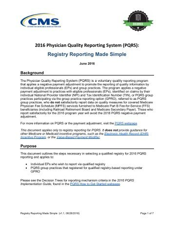 2016 Physician Quality Reporting System (PQRS) Registry Reporting Made Simple