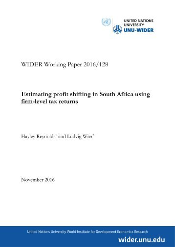 Estimating profit shifting in South Africa using firm-level tax returns