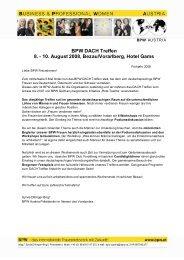"""Programm BPW DACH Motto: """"Frauen verdienen mehr"""" 8."""