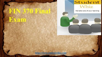 FIN 370 Final Exam: Which fnancial statement reports the amounts o± cash