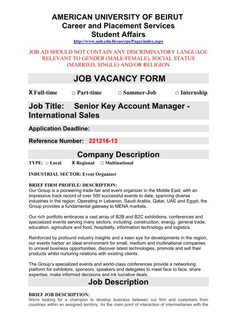 JOB VACANCY FORM