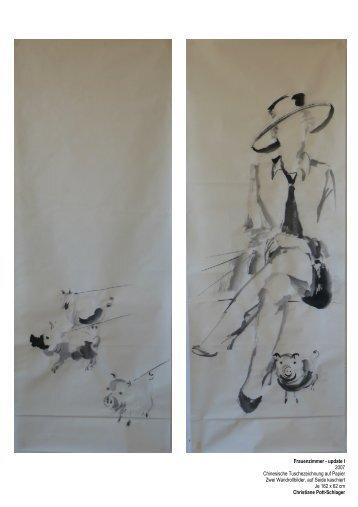 Frauen sw Zeichnung auf Papier