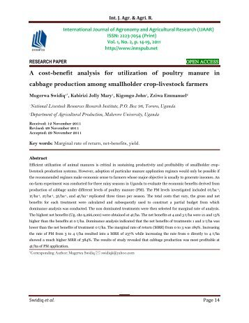 A cost-benefit analysis for utilization of poultry manure in cabbage production among smallholder crop-livestock farmers