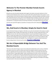 Mumbai Escorts Welcome To The Premier Mumbai Female Escorts Agency In Mumbai