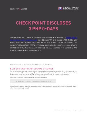 CHECK POINT DISCLOSES 3 PHP 0-DAYS