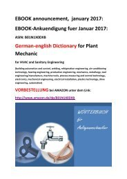 ebook announcement (january 2017): german-english Dictionary for Plant Mechanic german-english