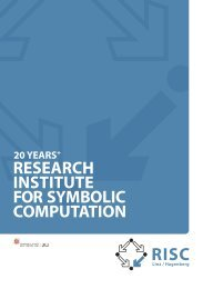 research institute for symbolic computation 20 years + ... - RISC - JKU