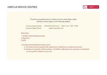 ONEPLUS SERVICE CENTRES