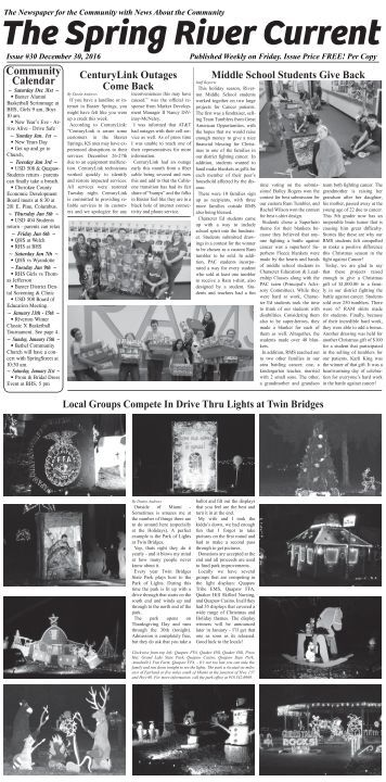 Spring River Current Issue #30 Dec. 30, 2016