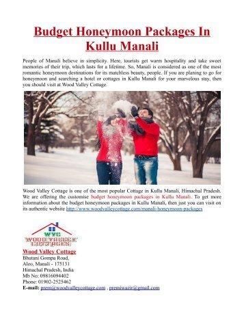 Budget Honeymoon Packages in Kullu Manali