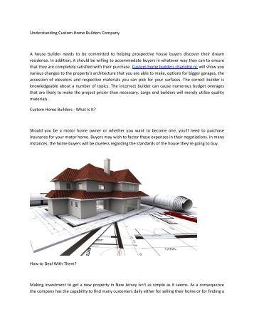 Understanding Custom Home Builders Company