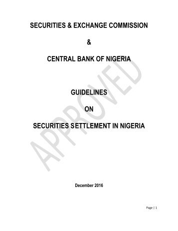 CENTRAL BANK OF NIGERIA GUIDELINES ON SECURITIES S ETTLEMENT IN NIGERIA