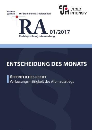 RA 01/2017 - Entscheidung des Monats
