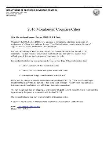 2016 Moratorium Counties/Cities