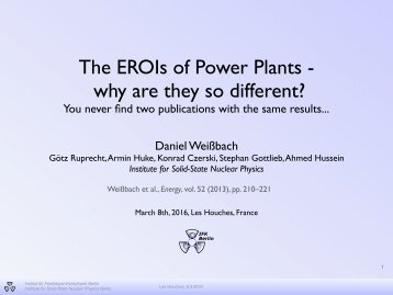The EROIs of Power Plants - why are they so different?
