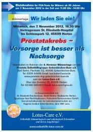 Vorsorge ist besser als Nachsorge - Prostata-Selbsthilfegruppe ...