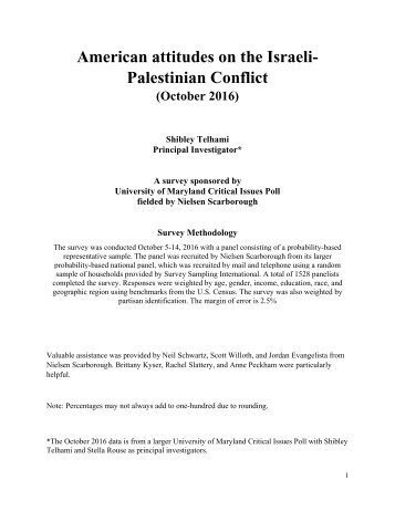 American attitudes on the Israeli- Palestinian Conflict