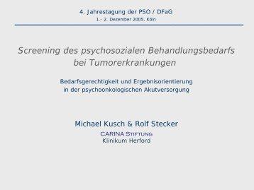 Screening des psychosozialen Behandlungsbedarfs bei - PSO