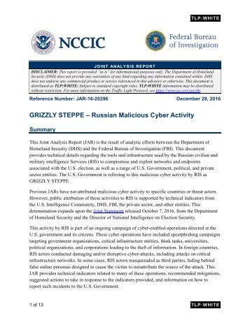 GRIZZLY STEPPE – Russian Malicious Cyber Activity