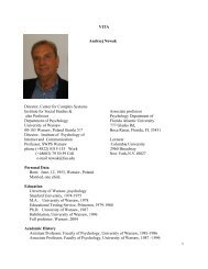 VITA Andrzej Nowak - the Psychology Department at FAU - Florida ...