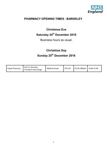 Barnsley-PHARMACY-OPENING-TIMES-Christmas-and-New-Year-16-08.12.16