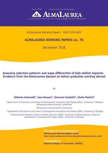 ALMALAUREA WORKING PAPERS no 76 December 2016