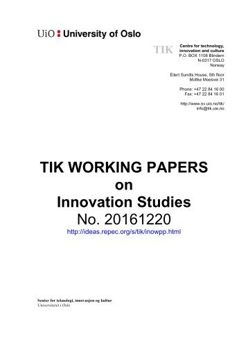 TIK WORKING PAPERS on Innovation Studies No 20161220