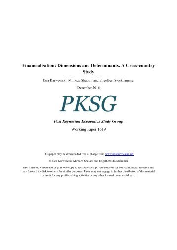 Financialisation Dimensions and Determinants A Cross-country Study