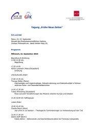 """Tagung """"Frühe Neue Zeiten"""" - Forschungsschwerpunkt Historische ..."""