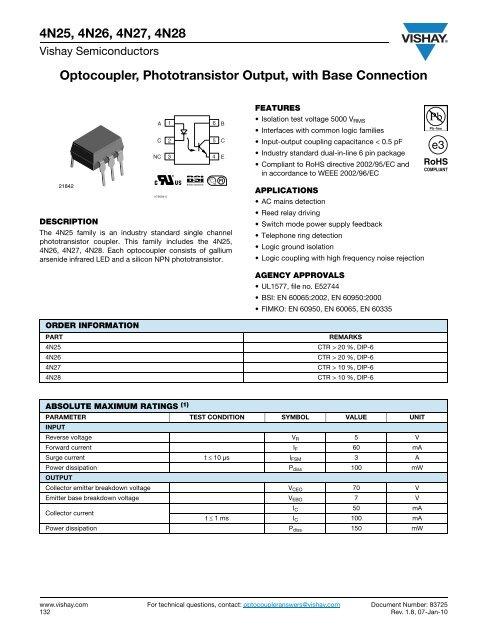 4n25 datasheet 6-pin dip optoisolators transistor output.