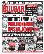 January 2, 2016 BULGAR: BOSES NG PINOY, MATA NG BAYAN