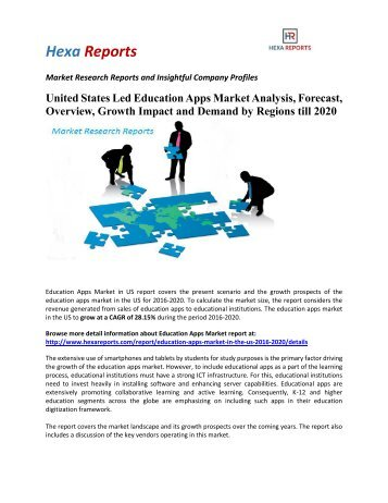United States Led Education Apps Market Analysis, Forecast, Overview, Growth Impact and Demand by Regions till 2020