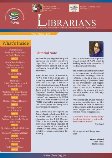 The Librarian: Vol, 3 Issue, 3, 2016