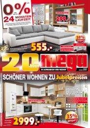 20 Jahre MEGA Möbel in Schwandorf und Weiden: Schöner Wohnen zu Jubelpreisen