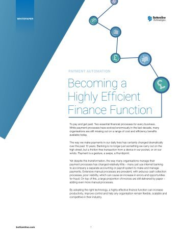 Becoming a Highly Efficient Finance Function