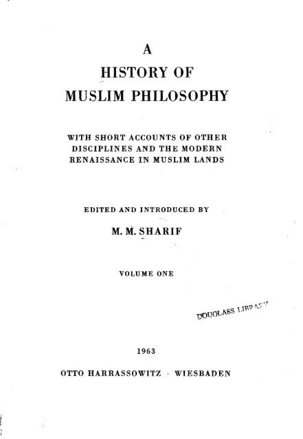 Mian Mohammad Sharif (ed ) - A History of Muslim Philosophy