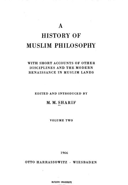 Mian Mohammad Sharif (ed ) - A History of Muslim Philosophy