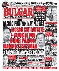 January 3, 2016 BULGAR: BOSES NG PINOY, MATA NG BAYAN