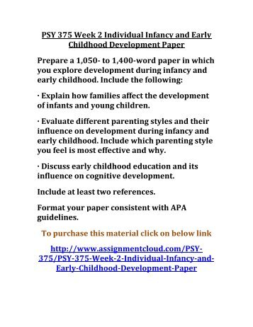 infancy early childhood development paper essay Speech on the importance of early childhood education since this paper has been achievements and to the health and development of infants and toddlers.